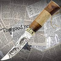 """Нож охотничий FB 1852 """"Кенгуру"""" нескладной с деревянной рукоятью и гравировкой на клинке. Остро заточенный нож"""