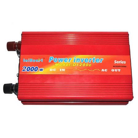 Преобразователь напряжения инвертор 2000W-B 12V  + ПОДАРОК: Настенный Фонарик с регулятором BL-8772A, фото 2