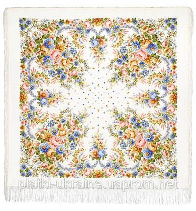 """Платок шерстяной с шелковой бахромой """"Малиновка"""", 125х125 см. рис 1346-2"""