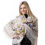 "Платок шерстяной с шелковой бахромой ""Малиновка"", 125х125 см. рис 1346-2, фото 4"
