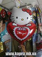 Шар Китти с сердцем,наполненный гелием