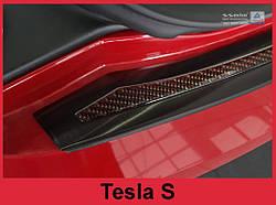 Захисна накладка на бампер з загином Tesla Model S Liftback (чорна сталь+carbon red)
