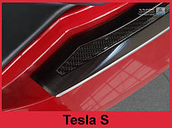 Захисна накладка на бампер з загином Tesla Model S Liftback (чорна сталь+carbon)