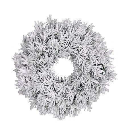 Венок ø 60 см. декоративный Dinsmore Frosted зеленый со снегом