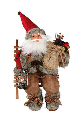 Новогодняя игрушка Санта Клаус на скамье 27 см, фото 2