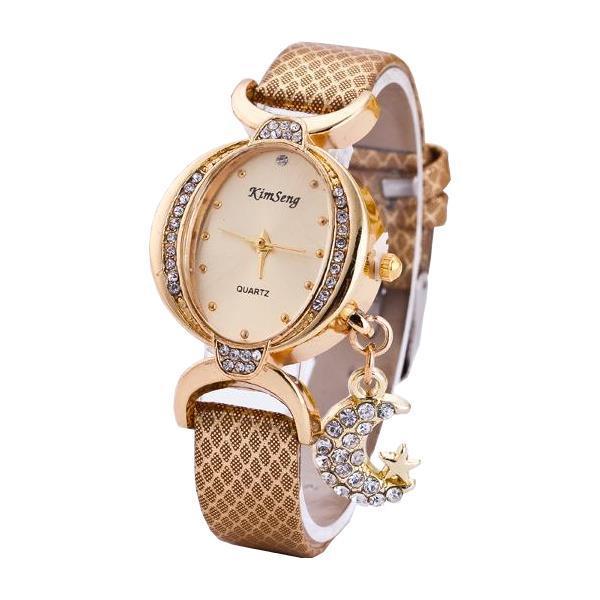 Мода Луна Кулон Повседневная Двусторонняя Дрель Овальная Женское Наручные часы - 1TopShop