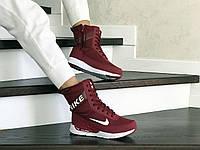 Женские зимние сапоги на меху Nike, кожа, термоплащевка, пена, бордовые.