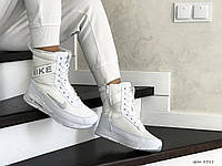 Женские зимние сапоги на меху Nike, кожа, термоплащевка, пена, белые.