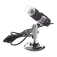 Цифровой микроскоп USB Magnifier Kronos SuperZoom 25-200X с LED подсветкой Черный