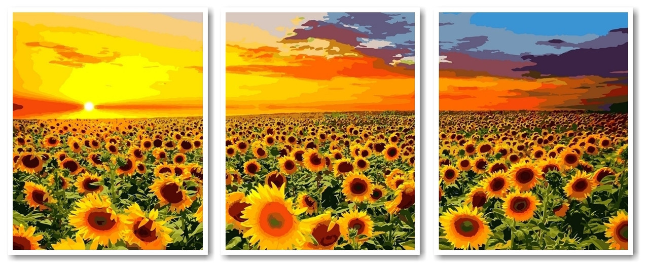Картины по номерам 50х120 см. Триптих Рассвет на поле с подсолнухами