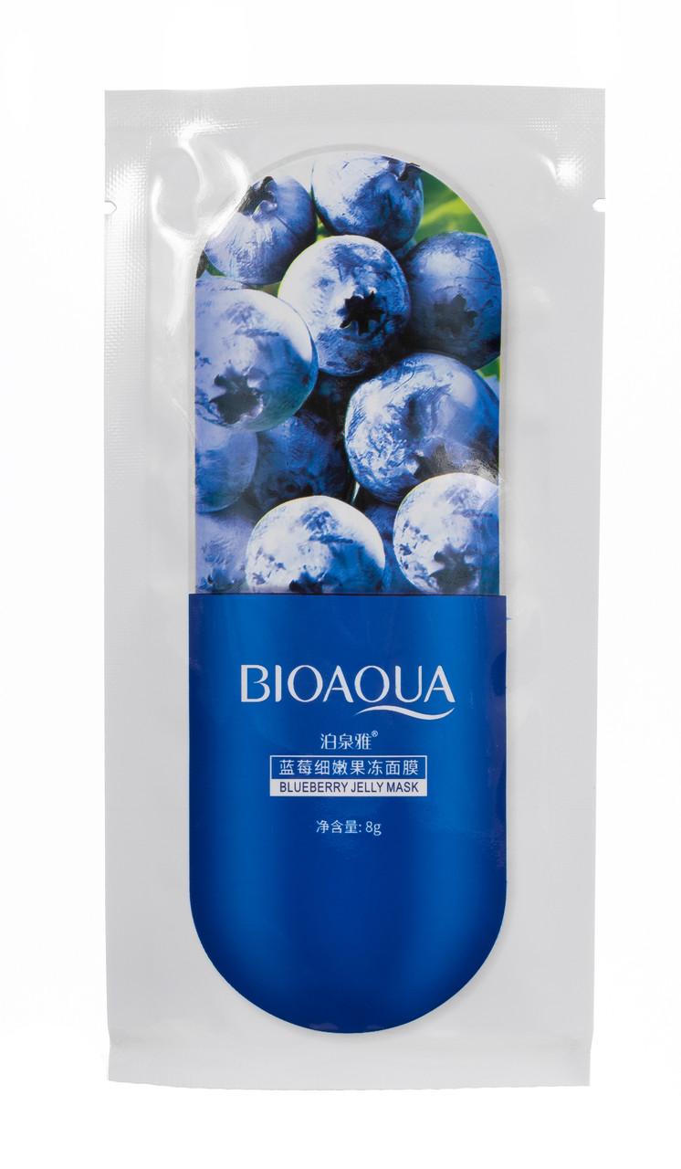 Ночная гелевая маска для лица с черникой BIOAQUA Blueberry Jelly Mask 8g