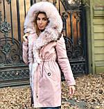 Розовая куртка парка с натуральным мехом арктической лисы на капюшоне, фото 5
