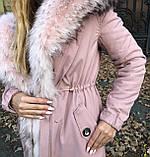 Розовая куртка парка с натуральным мехом арктической лисы на капюшоне, фото 6