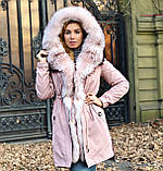 Розовая куртка парка с натуральным мехом арктической лисы на капюшоне, фото 7