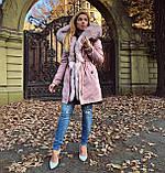 Розовая куртка парка с натуральным мехом арктической лисы на капюшоне, фото 8