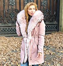 Розовая куртка парка с натуральным мехом арктической лисы на капюшоне