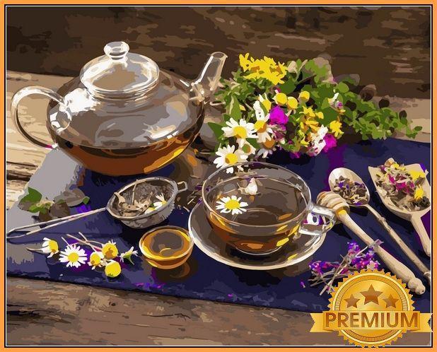 Картины по номерам 40×50 см. Babylon Premium Травяной чай