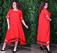 Батальное платье миди А силуэта с втавками сетки  7105