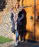 Темно синяя куртка парка с натуральным мехом лисы Blu Frost на капюшоне, фото 4