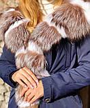 Темно синяя куртка парка с натуральным мехом лисы Blu Frost на капюшоне, фото 7