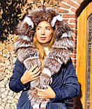 Темно синяя куртка парка с натуральным мехом лисы Blu Frost на капюшоне, фото 2