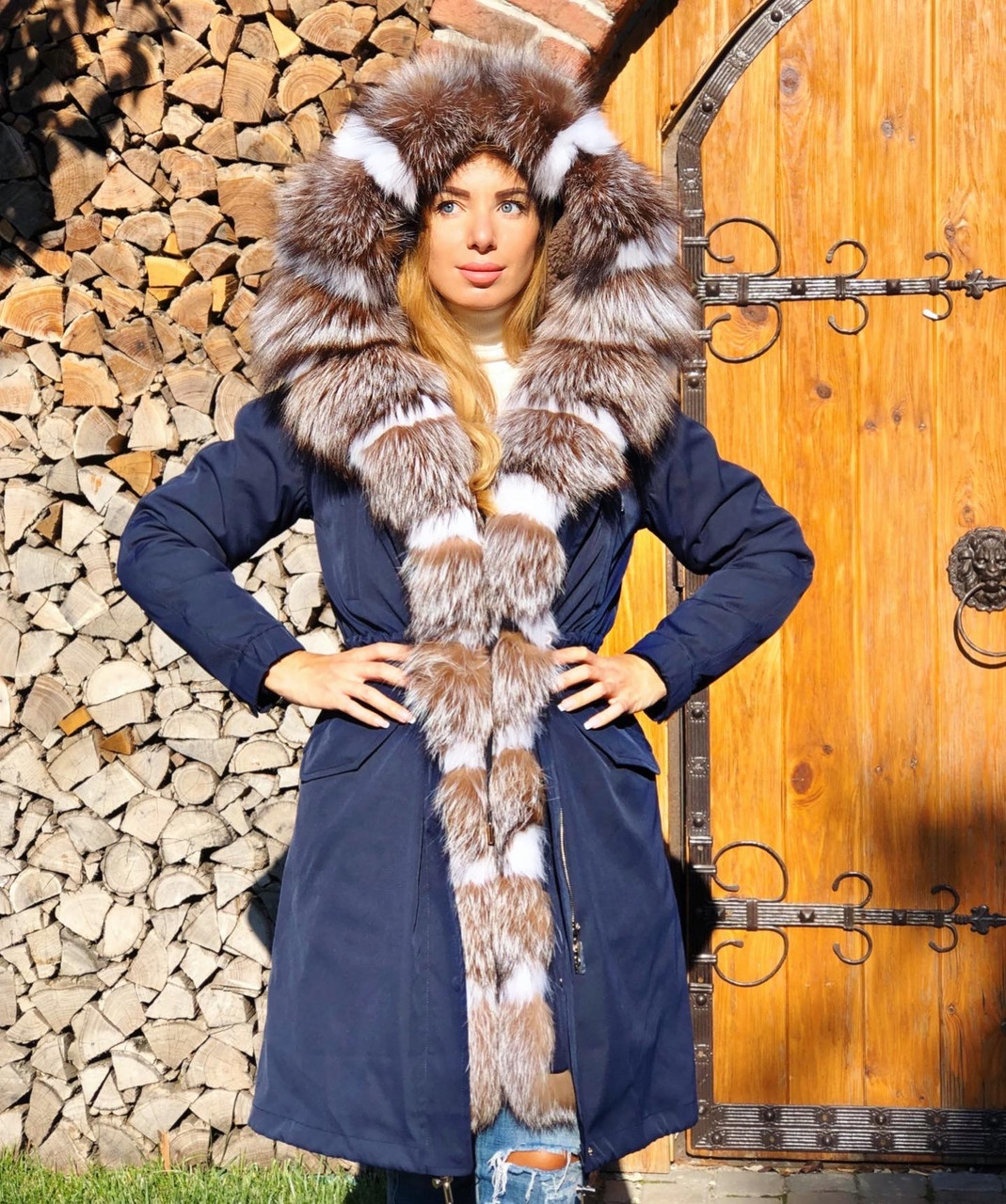 Темно синяя куртка парка с натуральным мехом лисы Blu Frost на капюшоне