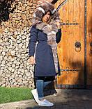 Темно синяя куртка парка с натуральным мехом лисы Blu Frost на капюшоне, фото 10