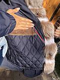 Темно синяя куртка парка с натуральным мехом лисы Blu Frost на капюшоне, фото 9