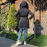 Темно серая куртка парка с натуральным мехом лисы чернобурки на капюшоне, фото 4