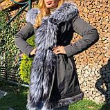 Темно серая куртка парка с натуральным мехом лисы чернобурки на капюшоне, фото 3