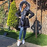 Темно серая куртка парка с натуральным мехом лисы чернобурки на капюшоне, фото 5