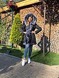 Темно серая куртка парка с натуральным мехом лисы чернобурки на капюшоне, фото 7