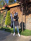 Темно серая куртка парка с натуральным мехом лисы чернобурки на капюшоне, фото 8