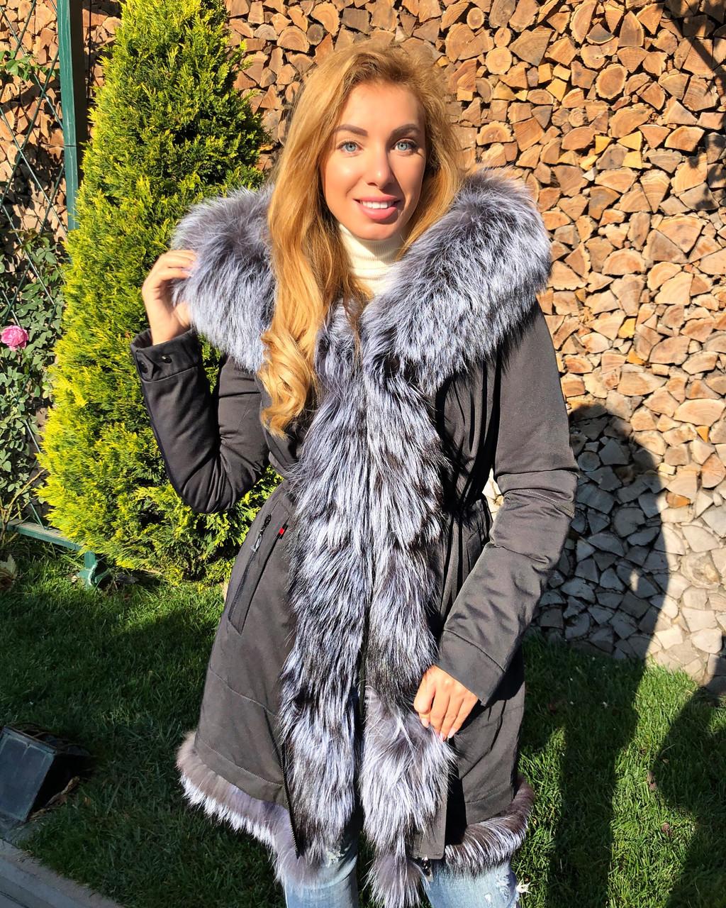 Темно серая куртка парка с натуральным мехом лисы чернобурки на капюшоне