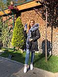 Темно серая куртка парка с натуральным мехом лисы чернобурки на капюшоне, фото 9