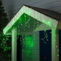 Гирлянда уличная Бахрома, 100 led, зеленая, белый/чёрный провод, 5м.