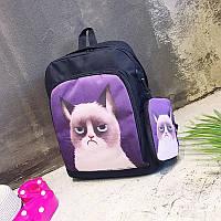 Рюкзак Kronos Top С чехлом Сердитый кот Черный
