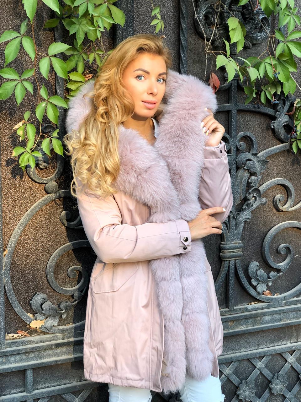Розовая куртка парка с натуральным мехом песца на капюшоне
