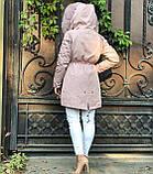 Розовая куртка парка с натуральным мехом песца на капюшоне, фото 6