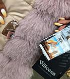 Розовая куртка парка с натуральным мехом песца на капюшоне, фото 8