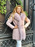 Розовая куртка парка с натуральным мехом песца на капюшоне, фото 9