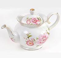Чайник заварочный Bona Китайская роза 1200 мл фарфор Белый с рисунком (BD-222-184_psg)
