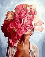Картины по номерам 40×50 см. Девушка и пионы, фото 1