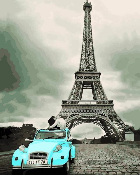 Картины по номерам 40×50 см. Поцелуй в Париже