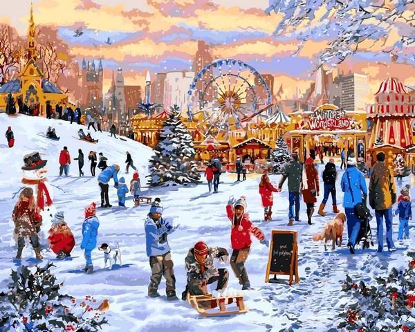 Картины по номерам 40×50 см. Гайд-парк Зимняя страна чудес Художник Ричард Макнейл