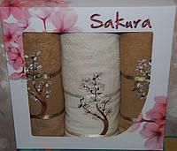 Набор махровых полотенец Сакура 70х140 1шт, 50х90 2шт бежевый
