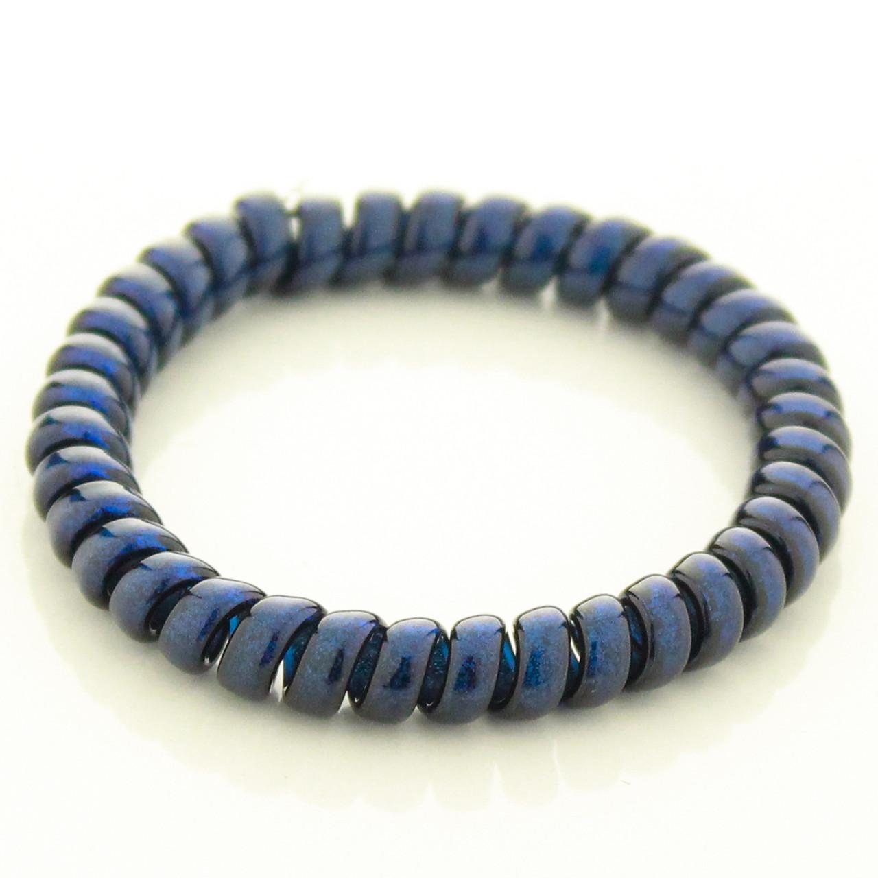 Резинка для волос STARLOOK спираль силиконовая c блестками 5 см синяя