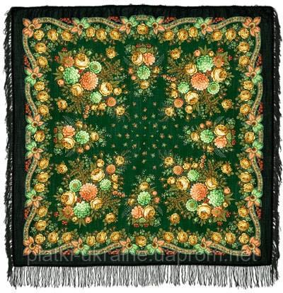 """Платок шерстяной с шерстяной бахромой """"Черные глаза"""", 125х125 см, рис 1194-30"""