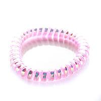 Резинка для волос STARLOOK спираль силиконовая голограмма 5 см розовая