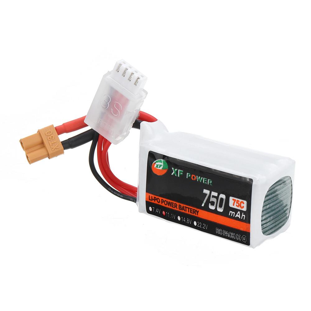 XF POWER 11.1 В 750 мАч 75C 3S Lipo Батарея XT30 Разъем для RC FPV Racing Дрон - 1TopShop